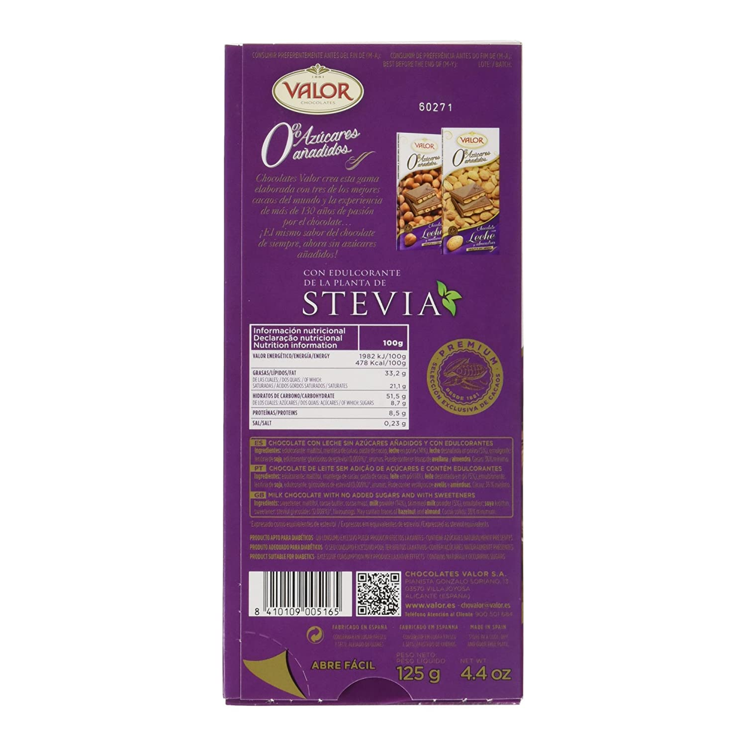 Valor Chocolate con Leche, sin Azúcares - 125 g: Amazon.es: Amazon Pantry