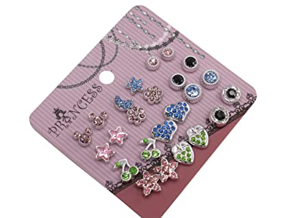 Pack of 12 Pink Crystal Magnetic Stud Earrings for Girls Kids Women TbBP1DT