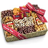 Thank You Chocolate Caramel and Crunch Grand Gift Basket with Snacks, Pretzels, Ghirardelli and Chocolate-covered Nuts