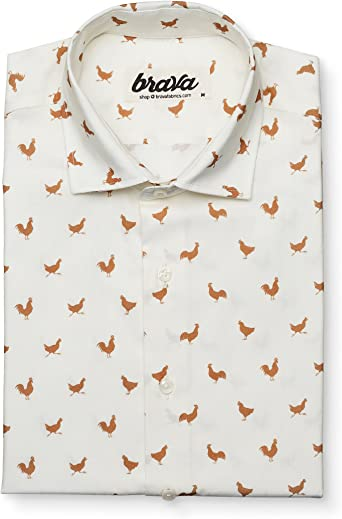 Brava Fabrics - Camisa Hombre Manga Larga Estampada - Camisa Blanca para Hombre - Camisa Casual Regular Fit - 100% Algodón - Modelo Morning Rooster - Talla XXL: Amazon.es: Ropa y accesorios