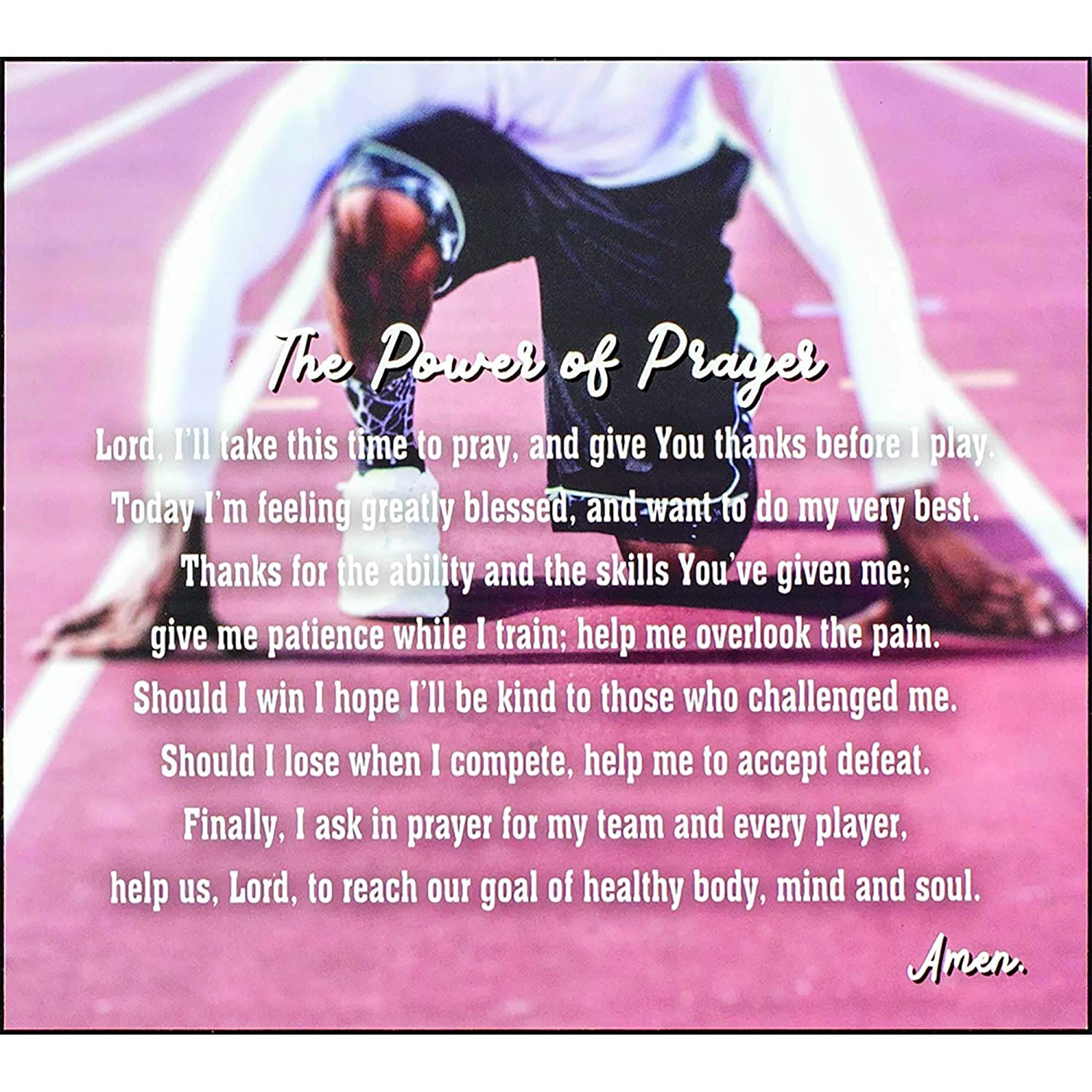Dicksons The Power of Prayer Amen Track Star Blurred Lanes Wood Wall Sign Plaque