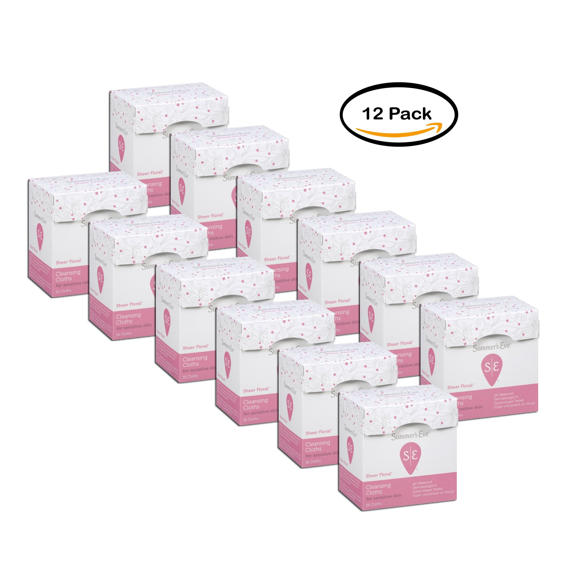 PACK OF 12 - Summer's Eve Feminine Cleansing Cloths For Sensitive Skin Individually Wrapped w/Sheer Floral, 16
