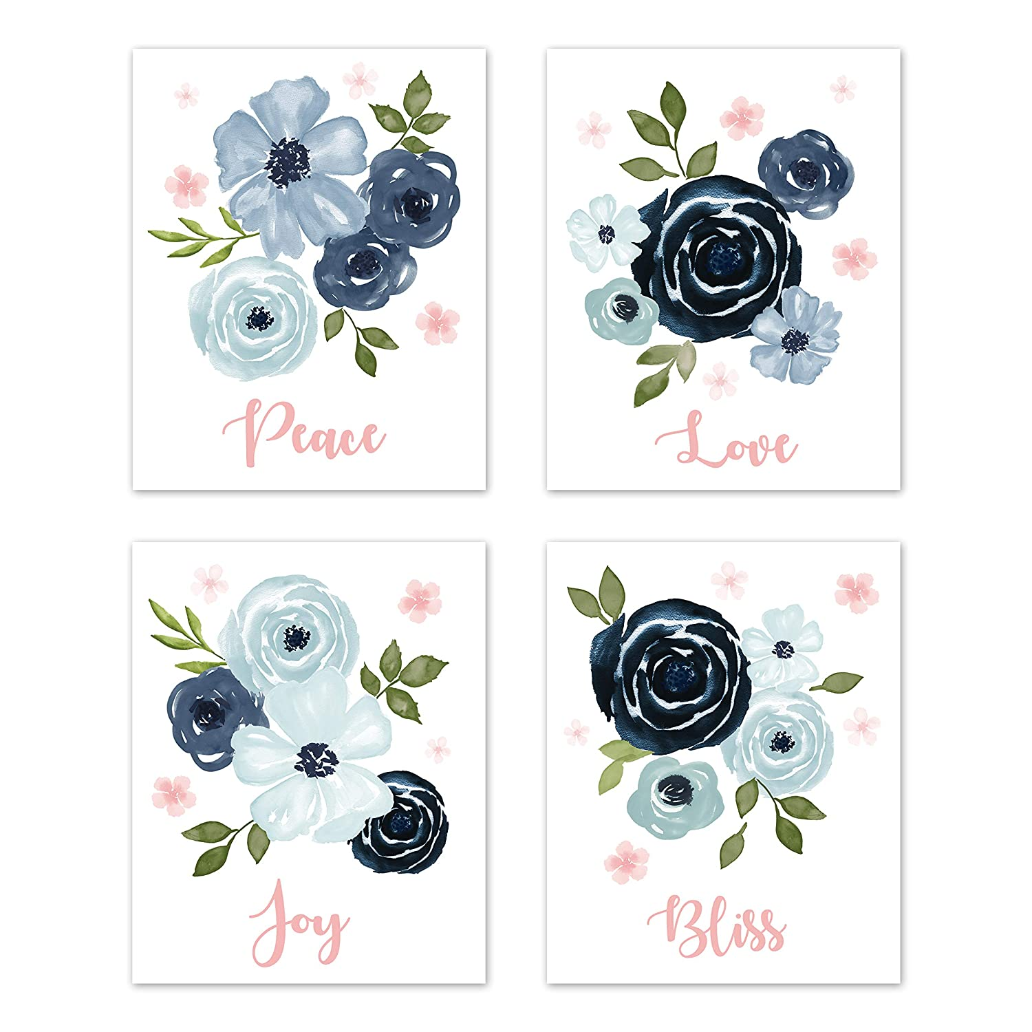 Sweet Jojo Designs Navy Blue and Pink Watercolor Floral Wall Art Prints Room Decor for Baby, Nursery, and Kids - Set of 4 - Blush, Green and White Shabby Chic Rose Flower Peace, Love, Joy Bliss