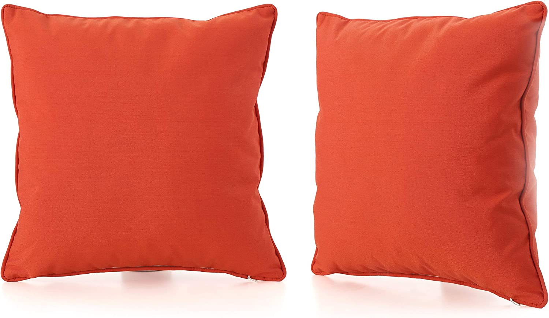 Christopher Knight Home Coronado Outdoor Square Water Resistant Pillows, 2-Pcs Set, Orange