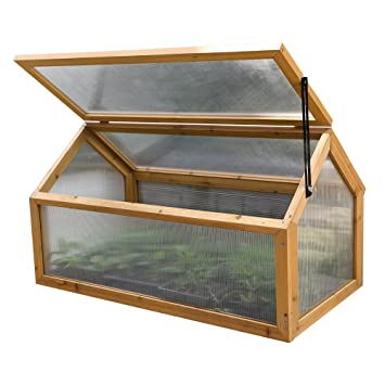 Wooden Outdoor Cold Frame Grow House Polycarbonate Shelter for ...