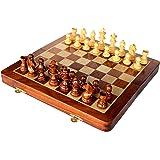 Stonkraft handgefertigtes, hochwertiges Holz-Schachspiel 31 x 31 cm ? magnetische Schachkassette aus Rosenholz