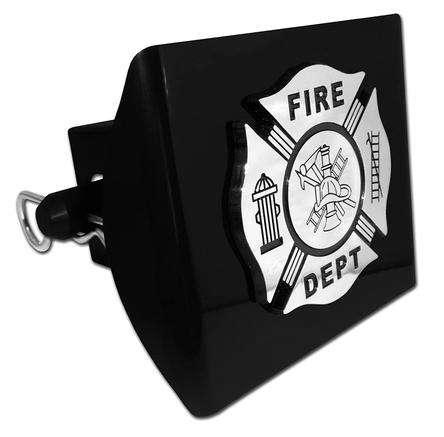 Firefighter (Chrome & Black) PLASTIC Black Hitch Cover Elektroplate