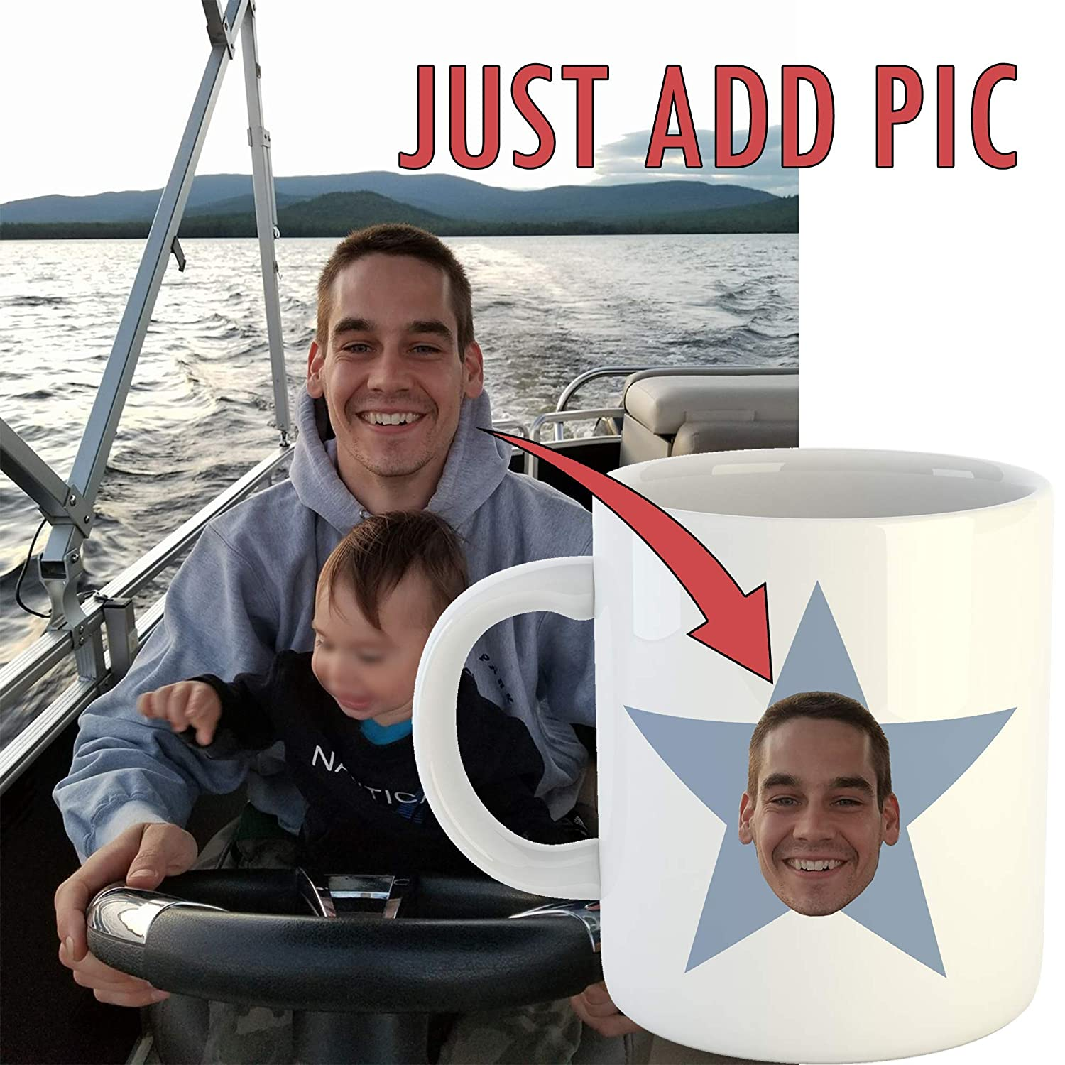 Funny Custom Office Gift 11oz Ceramic Coffee Cup Personalized Star Face Mug Add Your Own Face