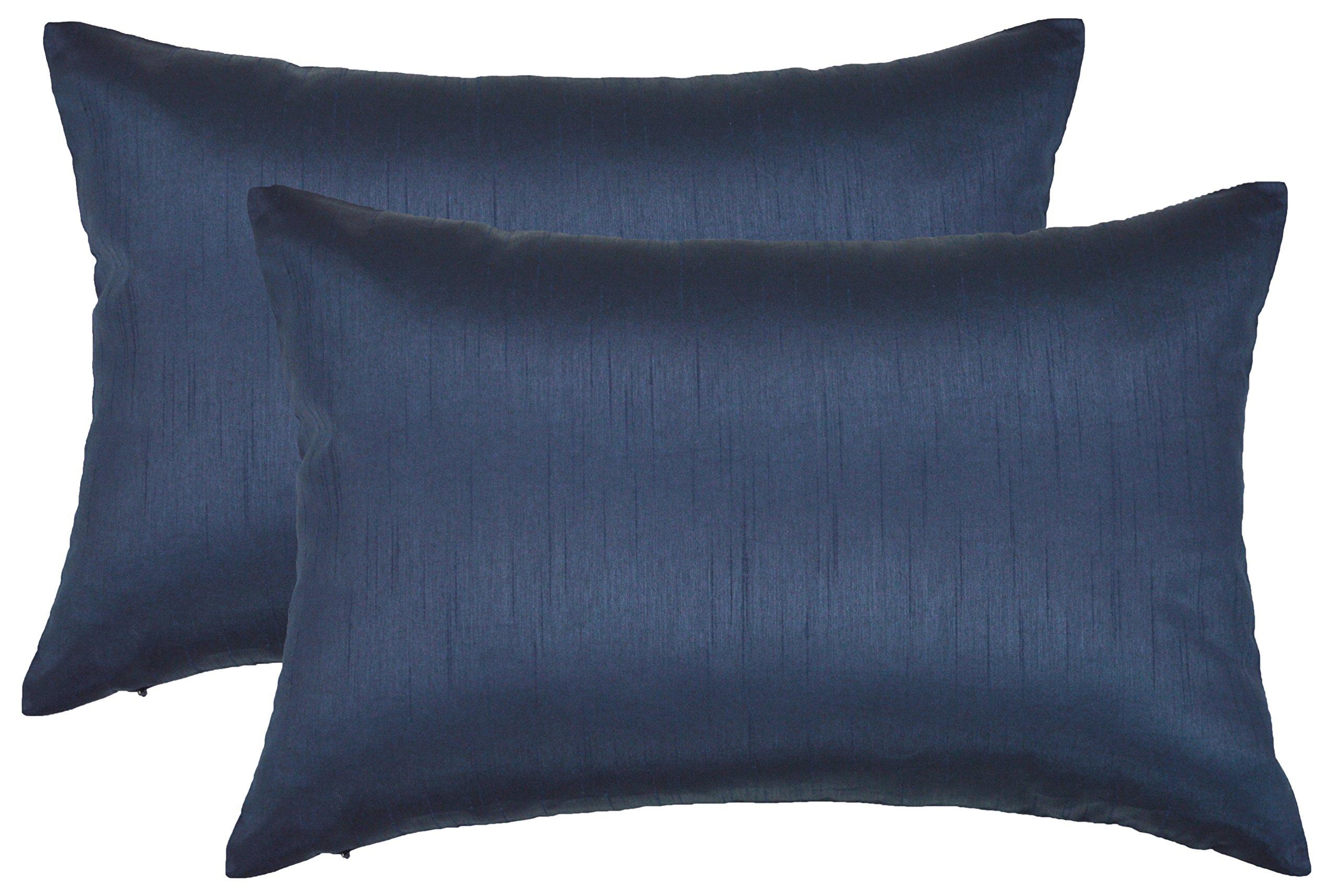 Aiking Home 12x18 Inches Faux Silk Rectangular Throw Pillow Cover, Zipper Closure, Navy (Set of 2)