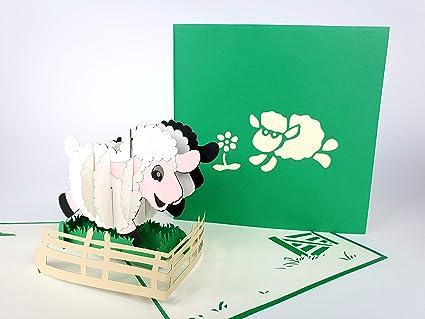 Oveja, granja, verde Cat Tarjeta de felicitación de ...