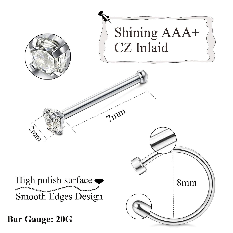 Fibo Steel 24 Pcs 20g Stainless Steel Hoop Nose Rings Screw Stud