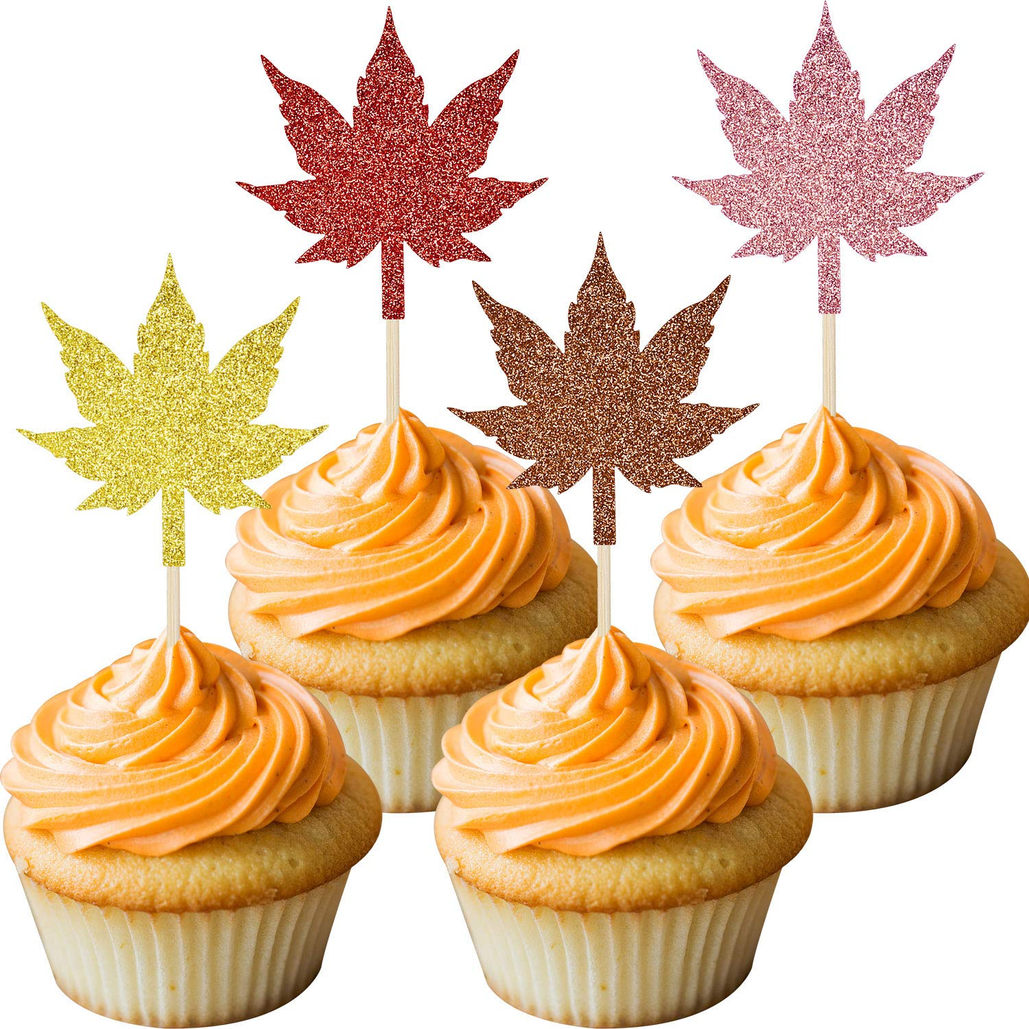48 Pieces Glittery Fall Leaves Cupcake Topper Maple Leaves Food Picks for Thanksgiving Party Fall Party Decorations