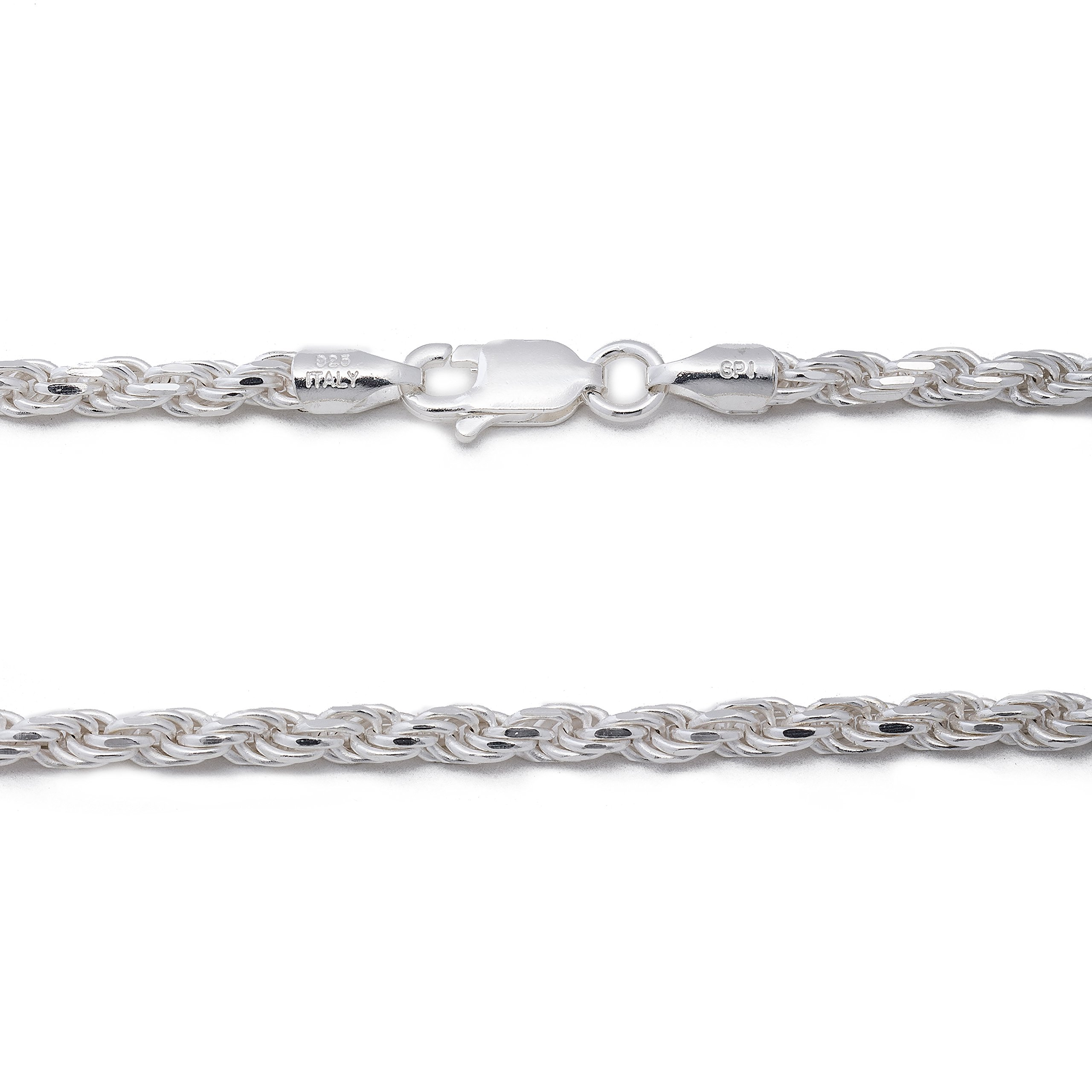 925 Sterling Silver 3MM Rope Chain Lobster Claw Clasp - 24'' by Designer Sterling Silver (Image #3)