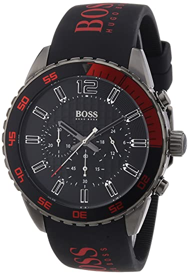 Amazon.com: Hugo Boss Watch, Mens Chronograph Red and Black Silicone Strap 44mm 1512901: Clothing
