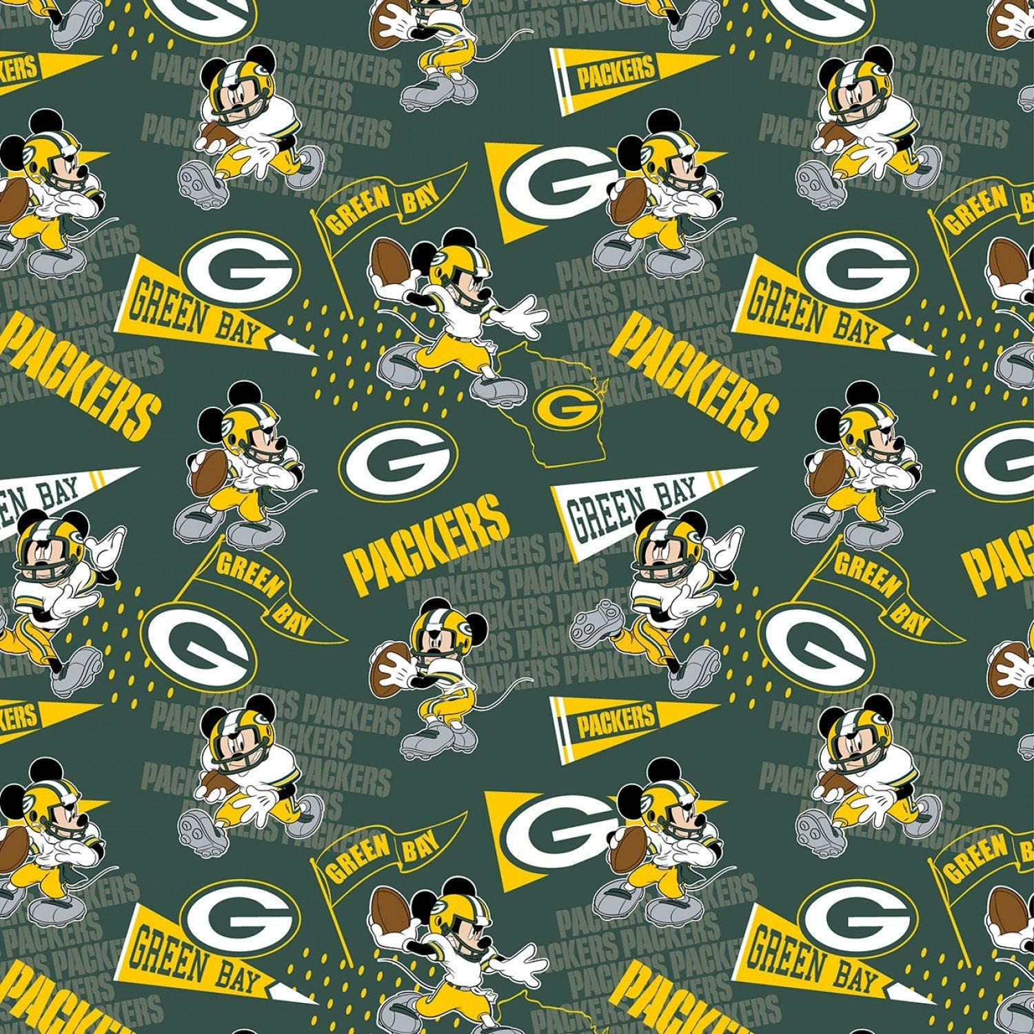 Amazon Com Nfl Mickey Disney Mash Up Fabric Green Bay Packers Fabric Nfl Football In Green 44 Wide 100 Cotton Fabric By The Yard