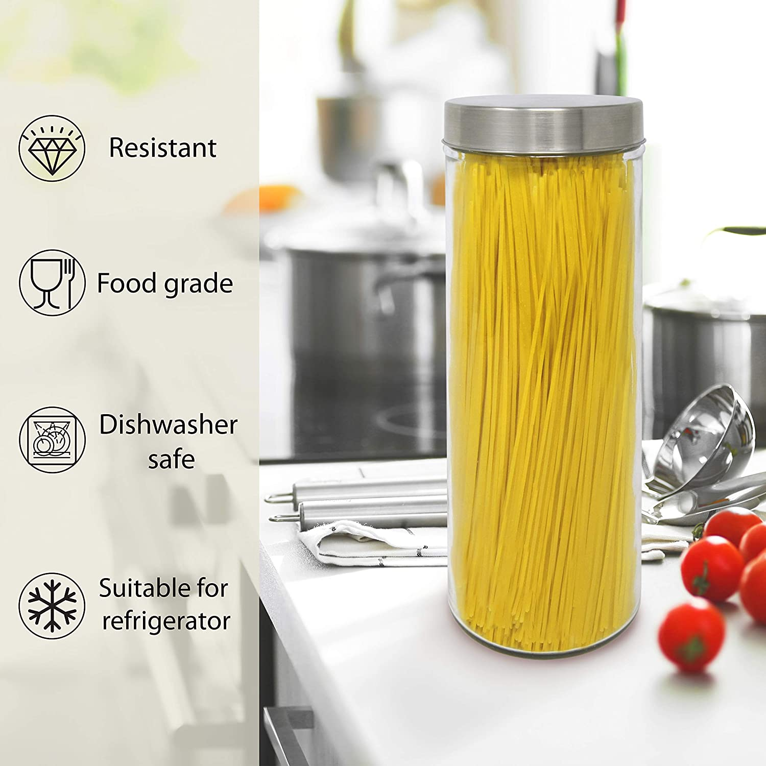 31x10 cm Inox-kristal Pack 2 Glass Jars Storage Canister for Food. 1.77 L with Stainless Steel Screw Cap