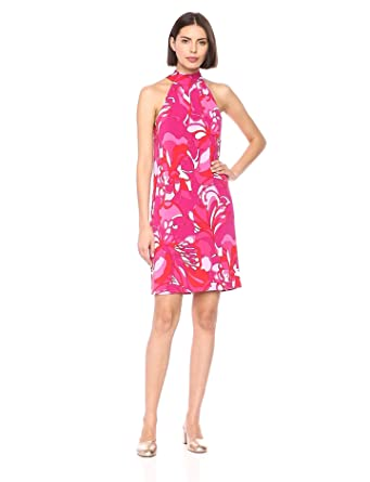 8b00418469 Trina Trina Turk Women's Craving Mock Neck Halter Dress, Pink Overlaid  Floral Extra Small