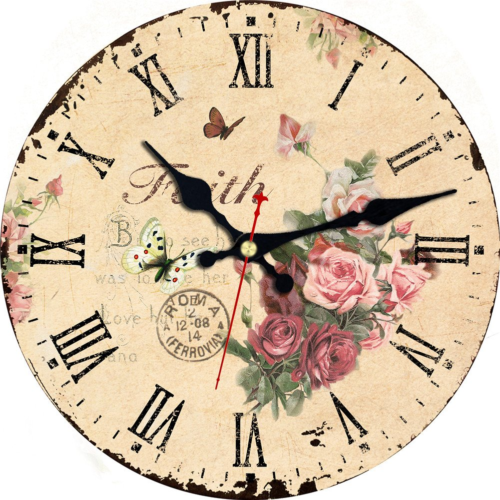 Silent No Ticking Round Quartz Movement Wall Clocks 16 Inch Decorative Vintage/Country/French Style Wooden Clock for Living Room,Kitchen,Office.