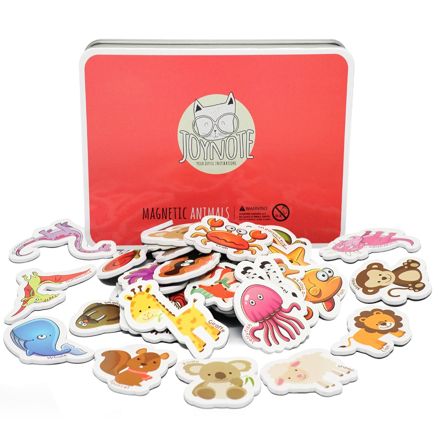 JOYNOTE Magnetic Animals for Kids, Cute Refrigerator Magnets Animals Education Set with Wild,Zoo,Farm,Sea Dinosaur Shape,Jungle Toddlers Magnetism Learning Toys (40 pcs in Iron Box)