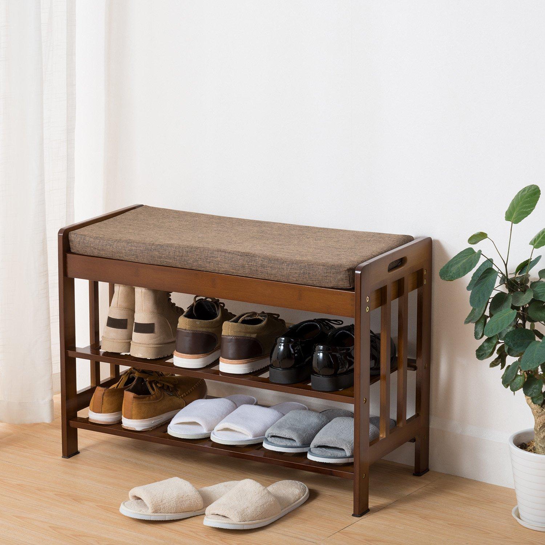 Ollieroo Natural Bamboo Shoe Rack Entryway Shoe Storage Household Shelf Shoe Bench with Cushion, Size 28.1 x 11.8 x 19.7 Amber