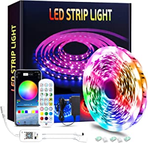 TONGNAN Smart WiFi LED Strip Lights Works with Alexa Google Home Brighter 5050 LED, 16 Million Colors Phone App Controlled Music Light Strip for Home, Kitchen, TV, Party for iOS and Android (16.4FT)
