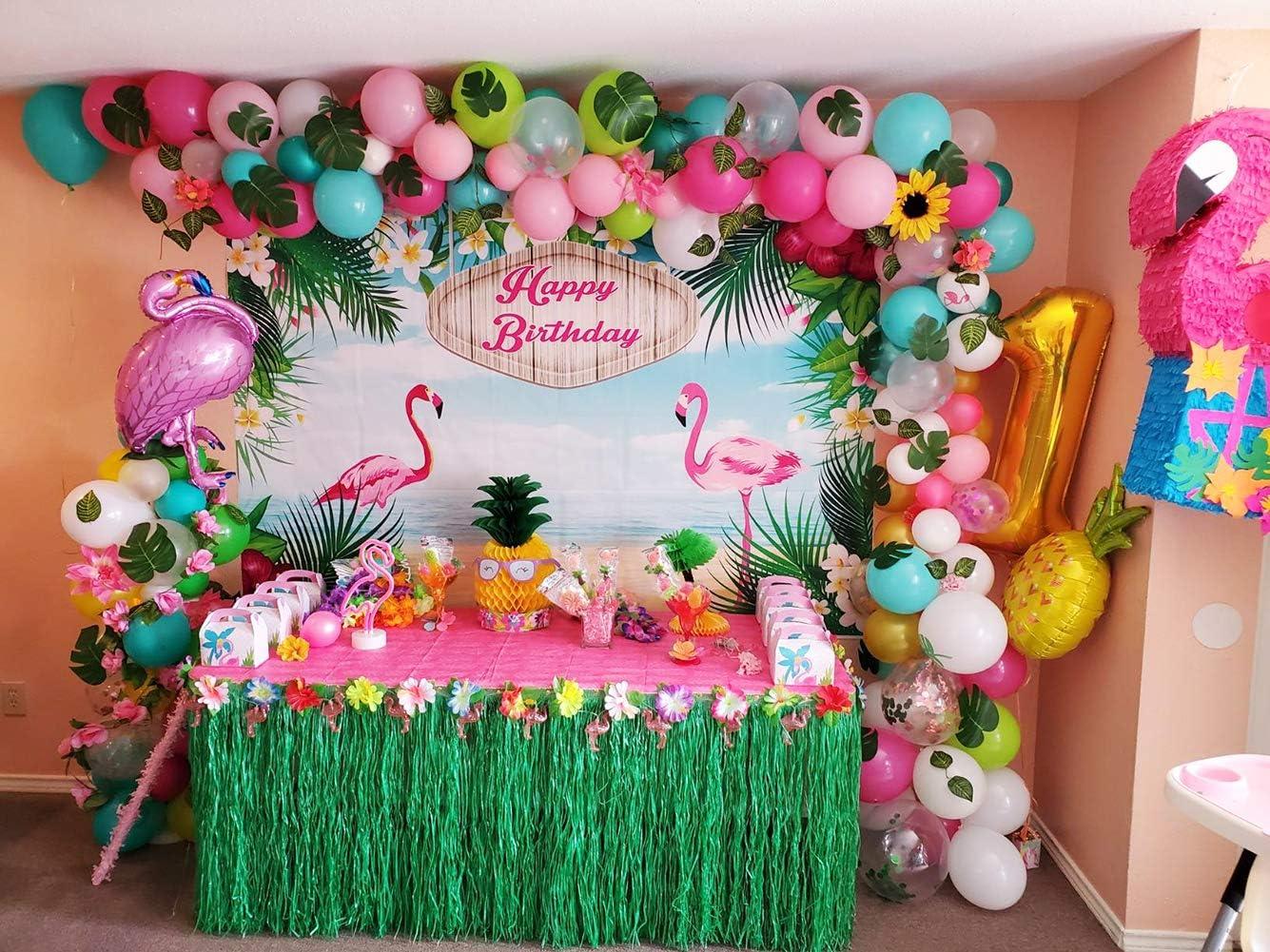 Hawaii Flamingo Tropical Themed Balloons Garland Kit Luau Balloon Arch Garland for Birthday Party Baby Shower Hawaii Luau Summer Beach Party Supplies 70PCS DIY Balloons Garland with Blue Green Hotpink Confetti Balloons