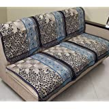 Griiham Contemporary Leaves Design Sofa Cover for 5 Seater Sofa - (3+1+1) 90% Cotton 10% Polyster AT16