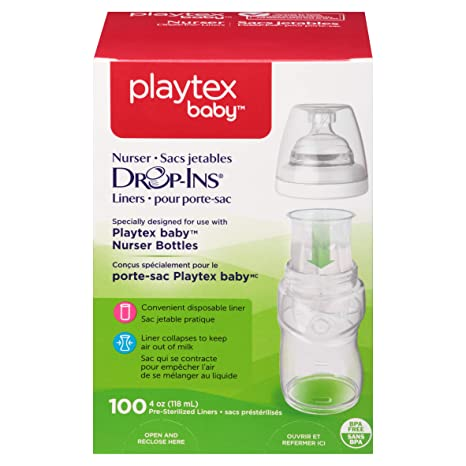 2 Pack Playtex Drop in Liners for Nurser Bottles 4 oz 50 Count Each