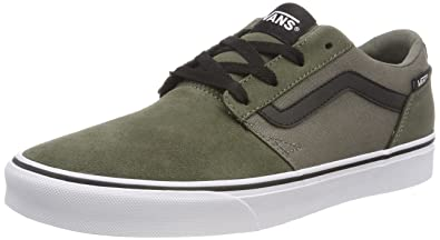 d93c865af3 Vans Men s Chapman Stripe Suede Canvas Low-Top Sneakers Green ...