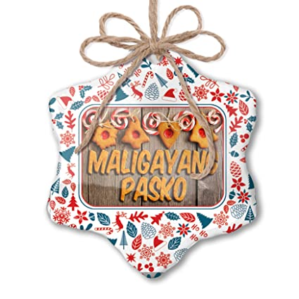 Merry Christmas In Tagalog.Amazon Com Neonblond Christmas Ornament Merry Christmas In