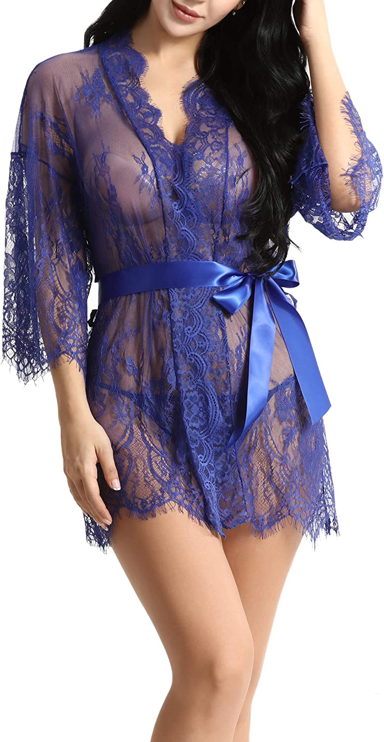 Womens Lace Kimono Robe Sheer Babydoll Lingerie Mesh Nightgown See Through Lace Chemise with G-String and Belt