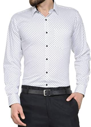 Men Designer Shirt | Sunshiny Dot Shirts For Men White Designer Shirt Dotted Shirts For