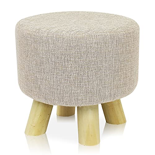 DL furniture – Round Ottoman Foot Stool, Tri Stands Round Shape Linen Fabric, Beige Cover