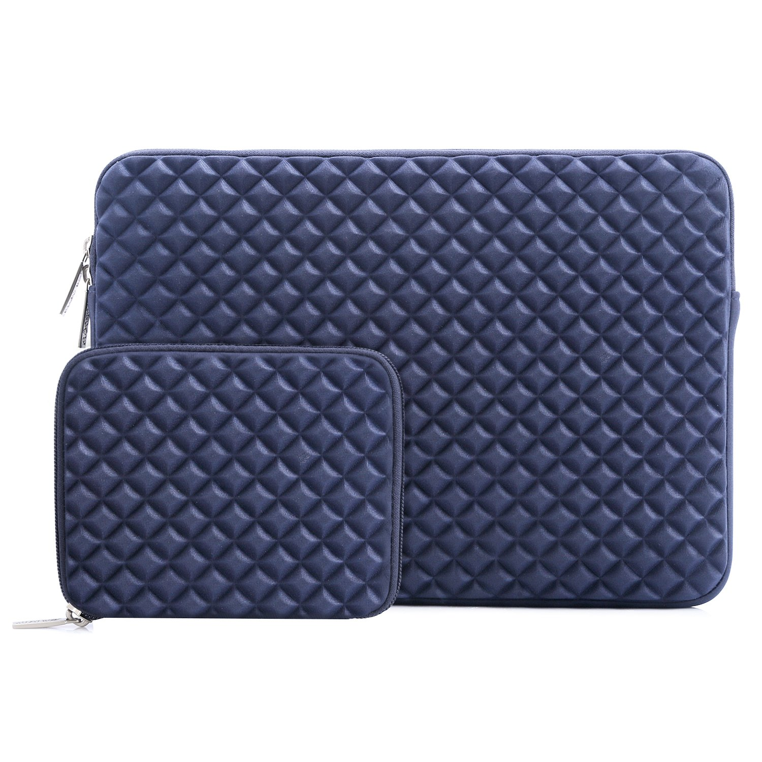 MOSISO Laptop Sleeve Bag Compatible 13-13.3 Inch MacBook Pro, MacBook Air, Notebook Computer with Small Case, Shock Resistant Diamond Foam Water Repellent Neoprene Chromebook Tablet Cover, Navy Blue