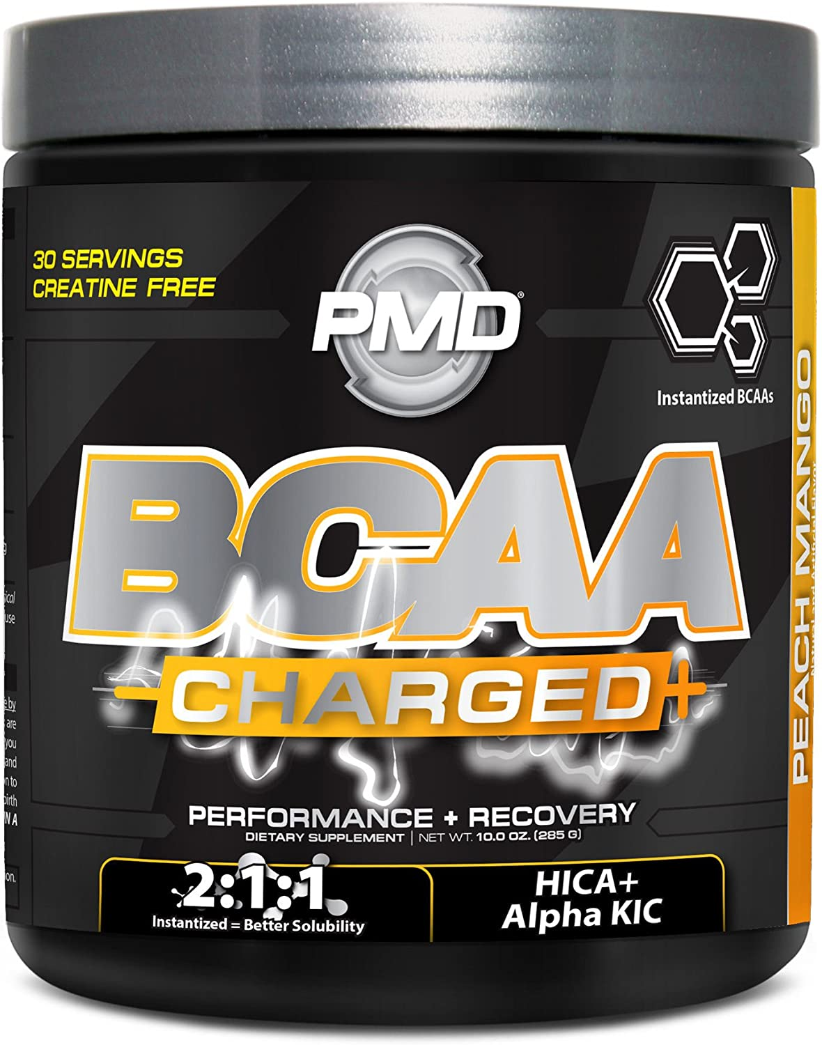 PMD Sports BCAA Charged Delicious Amino Acid Drink for Performance and Recovery – Increase Muscle Function for Workout and Daily Energy – Peach Mango – 30 Servings