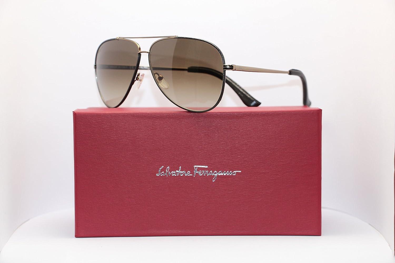 2825a9630d74 Amazon.com: Salvatore Ferragamo SF 118 211 Shiny Brown Aviator Mens Italian Sunglasses  60mm: Clothing
