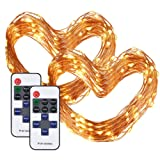 Cymas 2Pack LED String Lights, 33ft 100 LED Dimmable Lights with Remote Control, Waterproof Copper Wire Lights for Indoor Outdoor Bedroom Patio Wedding Decoration, UL Listed (2-Pack)