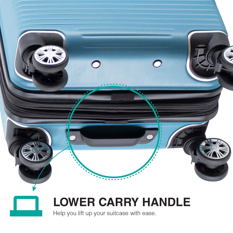 Amazon.com | Villago Hardshell Carry On USB port Polycarbonate 8 Wheel Spinner with Slash Proof Zipper TSA Lock and Expandable Zipper (22x14x9) (AQUA) ...