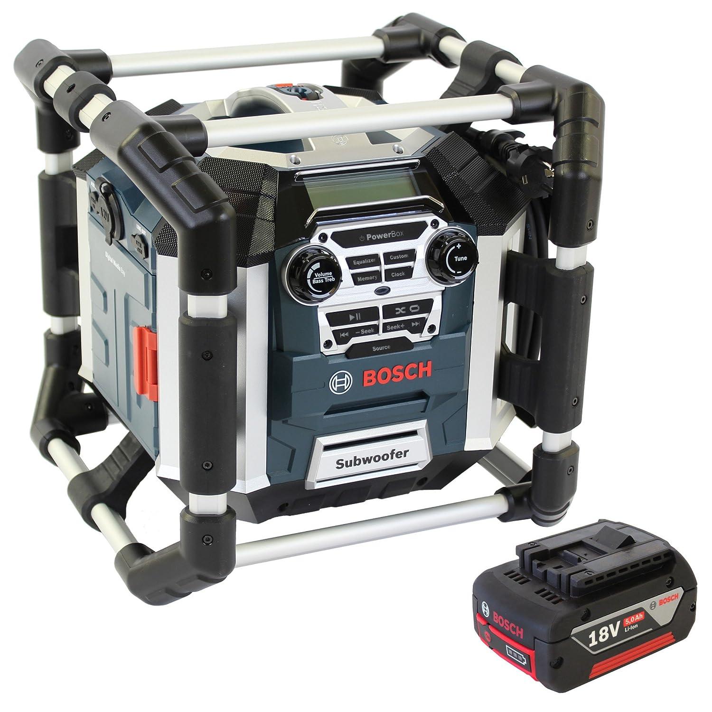 Bosch SOUNDSET Radiolader GML 50 mit Fernbedienung für 14,4/18,0V Bosch Li-Ion Slider Akkus 50 Watt Musikleistung mit Subwoofer + 1x Akku 18V 5,0AH