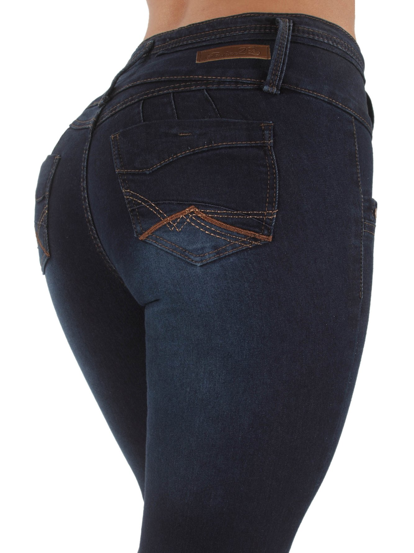L'square jeans Style LS98195S–Colombian Design, Butt Lift, Levanta Cola, Skinny Jeans in Dark Blue Size 15