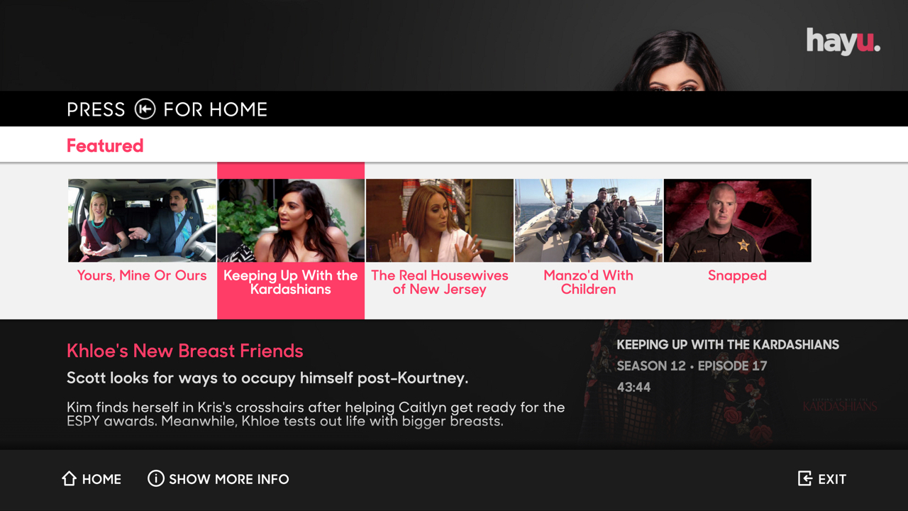 Hayu reality tv on demand appstore for for Tv on demand