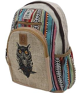 6d98ec77e254 KayJayStyles Handmade Natural Hemp Nepal Backpack Purse for Women   Girls  Small Lightweight Daypack (Owl