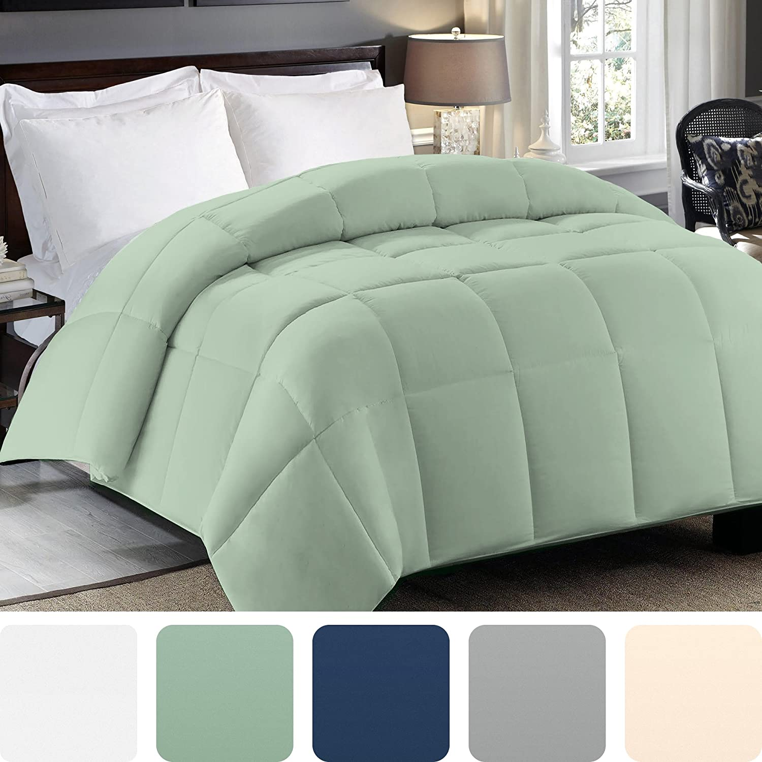 Twin Comforter Down Alternative   Sage Green Duvet Insert Or Stand Alone Bed Comforters   All Season Hypoallergenic Bedding   Lightweight And Machine Washable   Fits Twin And Twin Xl Size by Cosy House Collection
