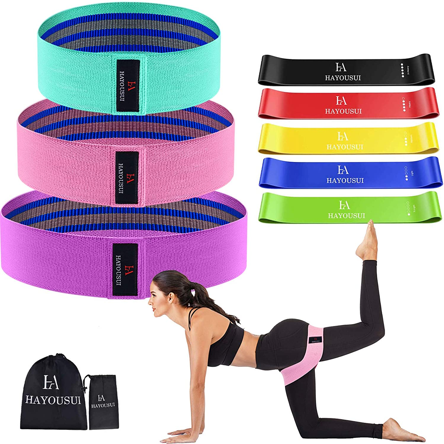 Cloth Fabric Resistance Hip Booty Bands Loop Exercise Workout Fitness Gym Band
