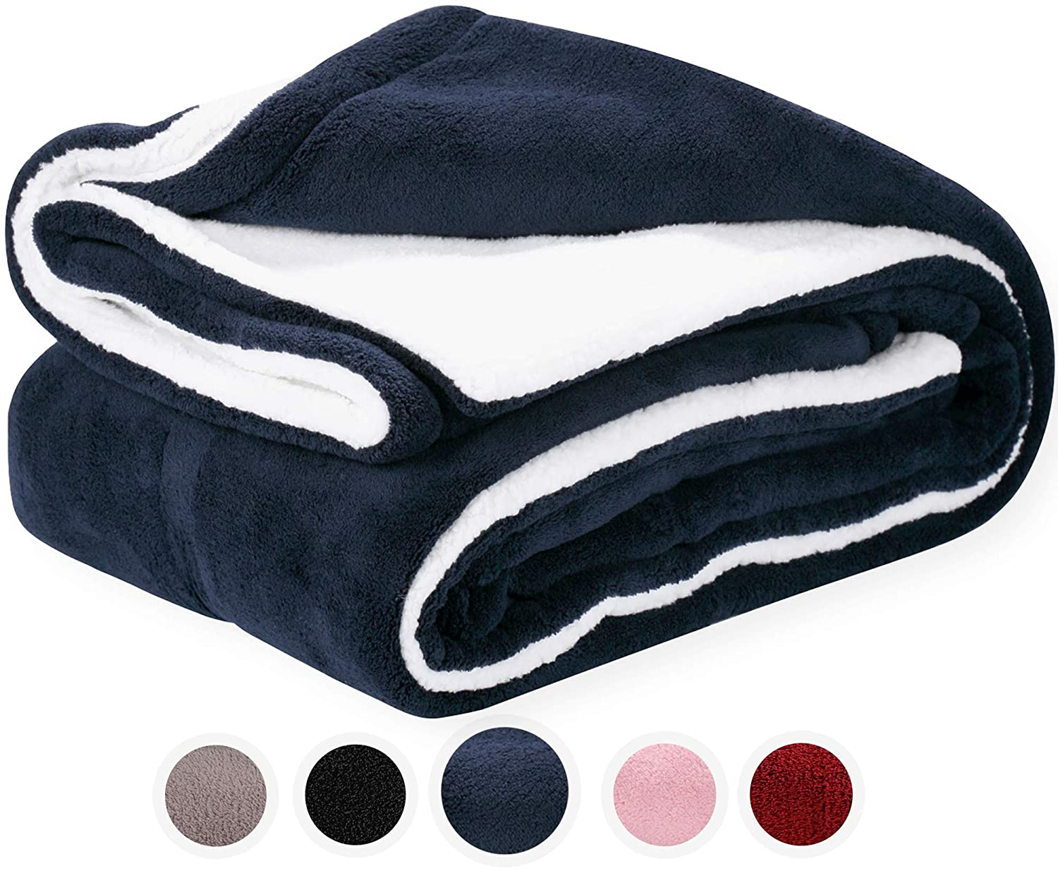 Pembrook Super Soft and Warm Reversible Plush Coral Micro with Sherpa Shearling Lining, (51 X 63 inches)Fleece Blanket, Black