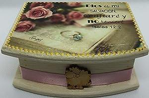 Caja decorada con Promesa Bíblica pintado a mano, regalos cristianos, promesas cristianas, caja decorada, recordatorios, palabra de Dios, Isaias 12