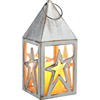 WeRChristmas–Farol preiluminado (Star, Madera, 21cm), Color Blanco Envejecido