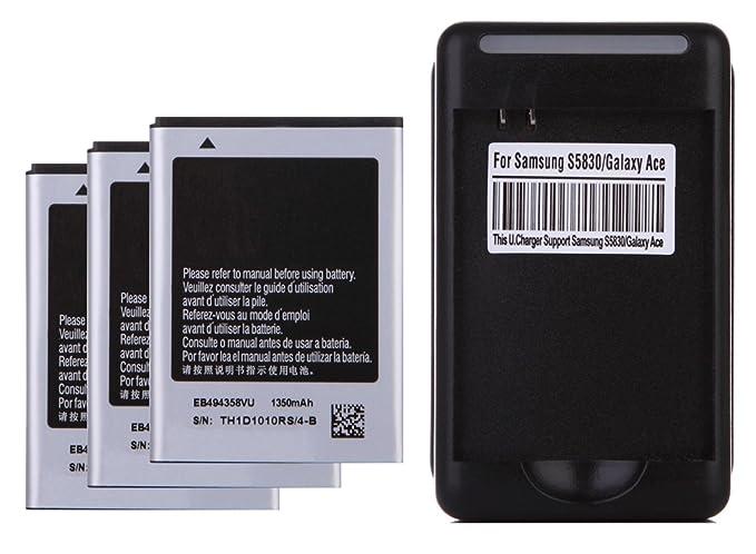 Amazon.com: 3 x 1350mAh Baterias de repuesto + Cargador de ...