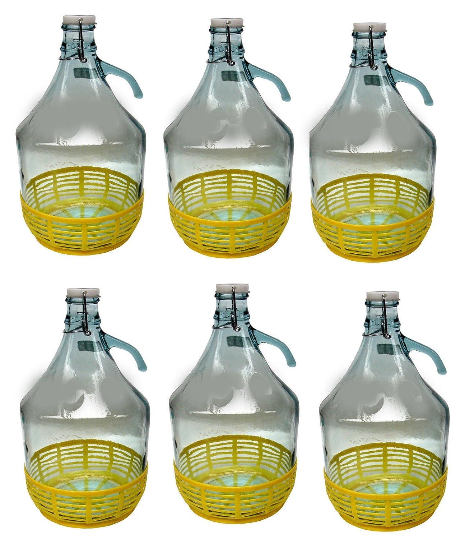 6 STÜCK 5L Gärballon mit BÜGELVERSCHLUSS und Kunststoffkorb Flasche Glasballon Weinballon Bügelflasche kostenlose Lieferung lilawelt24