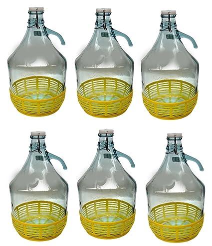 6 pieza 5L gärballon con cierre de clip y plástico cesta de cristal Globo de botellas
